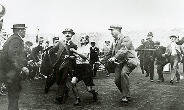 Dorando Pietri WInning the 1908 Olympic Marathon almost Buckling Under Fatigue